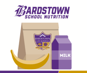 Bardstown School Nutrition graphic with lunchbag, milk carton and banana.